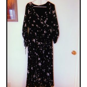 black dress with silver stars from nasty gal